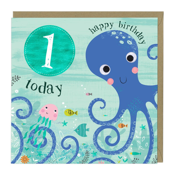 1 Today Octopus Children's Birthday Card