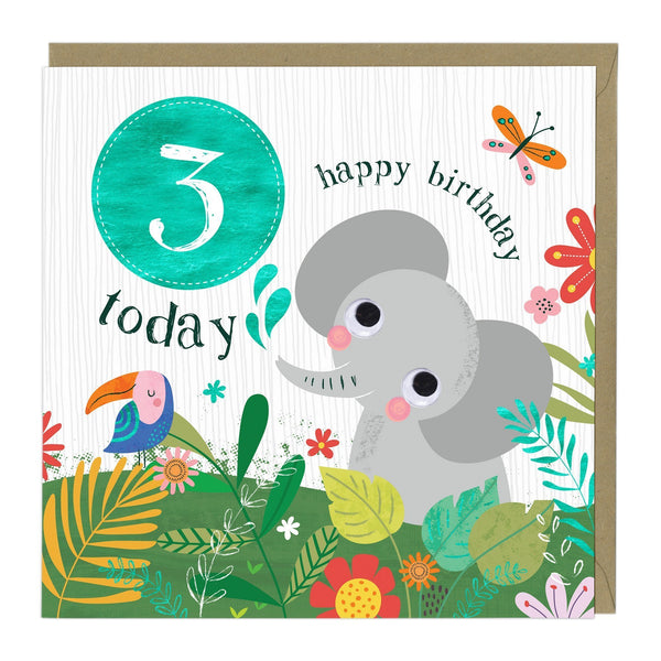 3 Today Elephant Children's Birthday Card