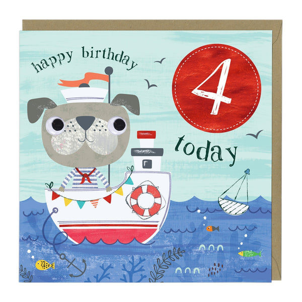 4 Today Sailor Dog Children's Birthday Card