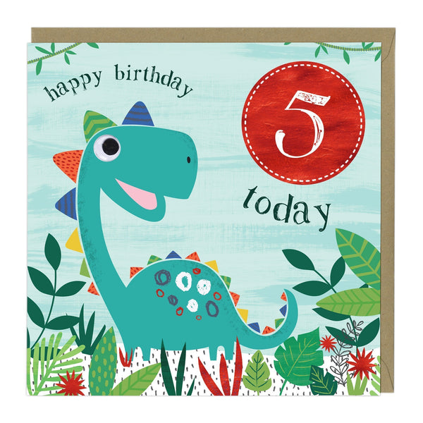 5 Today Dinosaur Children's Birthday Card