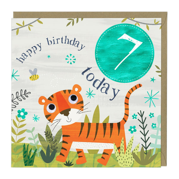 7 Today Tiger Children's Birthday Card
