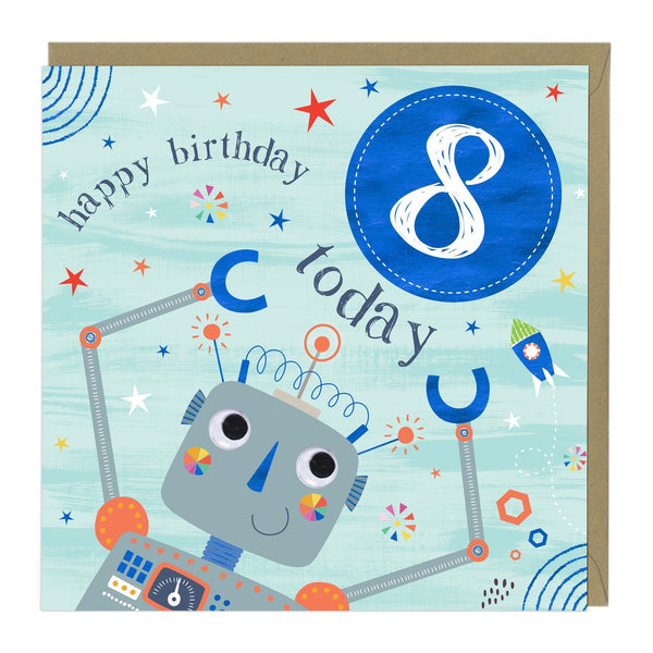 8 Today Robot Children's Birthday Card