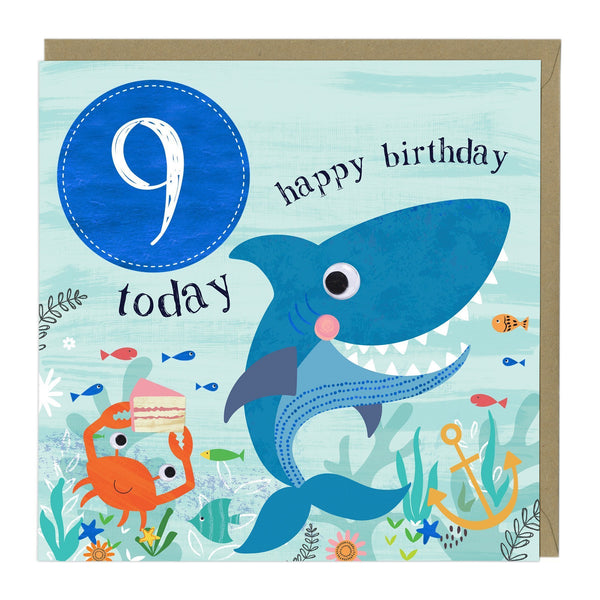9 Today Shark Children's Birthday Card