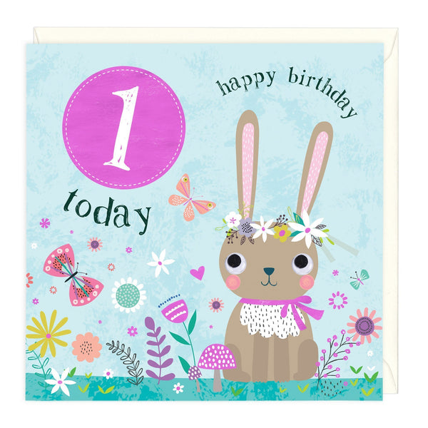 1 Today Bunny Children's Birthday Card