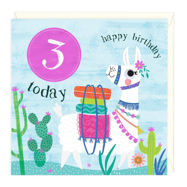 3 Today Llama Children's Birthday Card