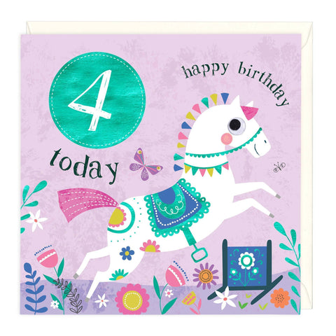 4 Today Horse Childrens Birthday Card