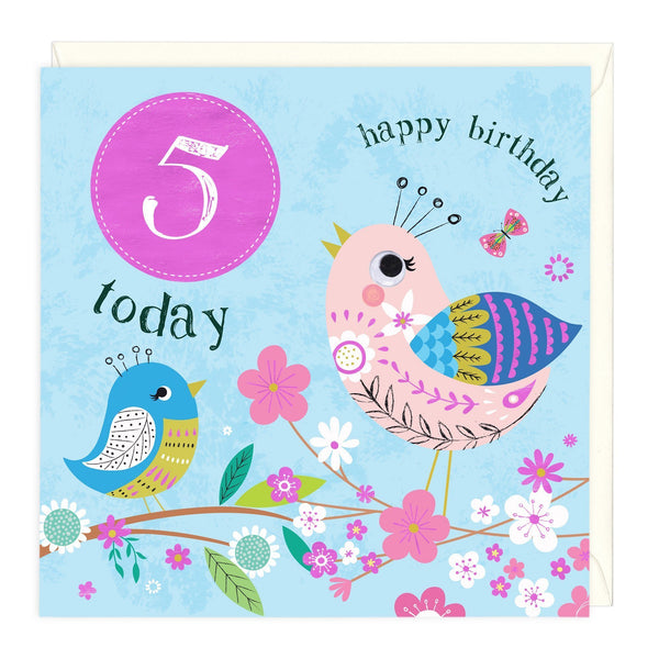 5 Today Colourful Birdies Children's Birthday Card