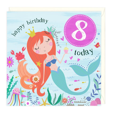 8 Today Mermaid Childrens Birthday Card