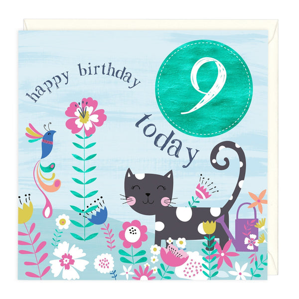 9 Today Cat Children's Birthday Card