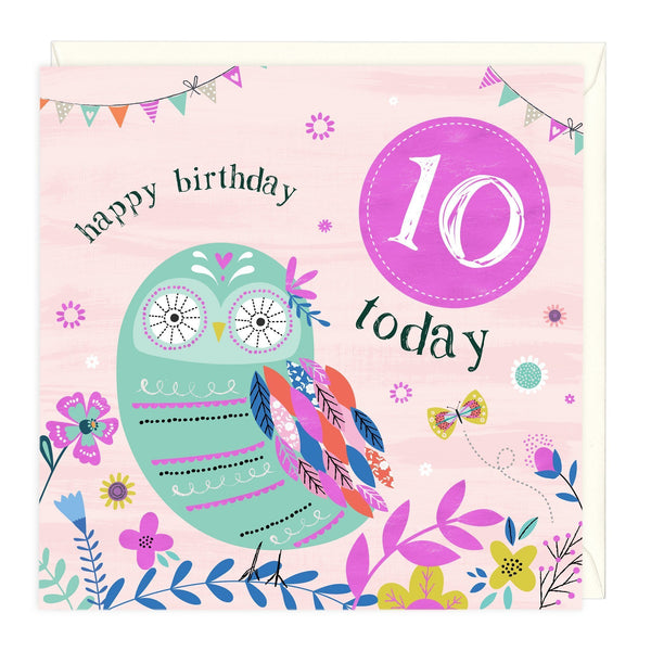 10 Today Owl Children's Birthday Card