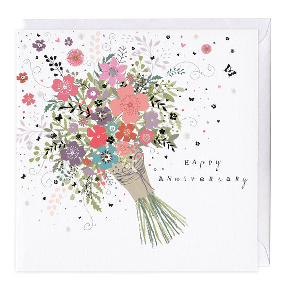 Bunch Of Flowers Anniversary Card