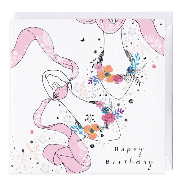 Floral Shoes Birthday Card