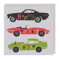 Sports Cars Birthday Card
