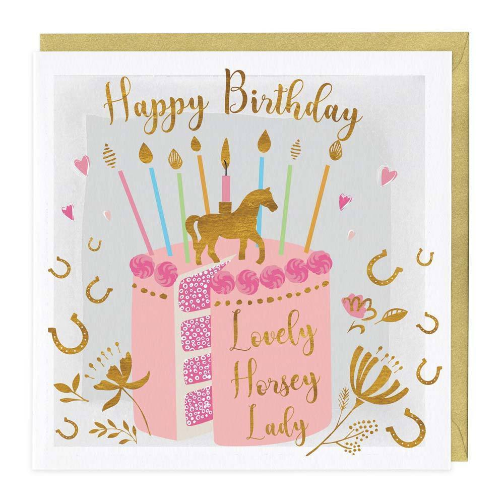 Pleasant Lovely Horsey Lady Birthday Cake Card Whistlefish Funny Birthday Cards Online Fluifree Goldxyz