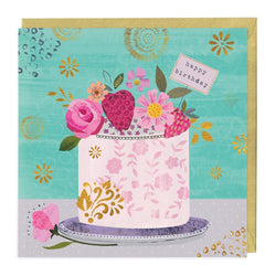 Strawberries & Floral Cake Birthday Card