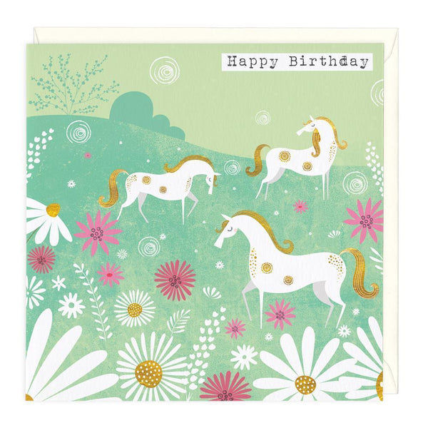 Golden Horses Birthday Card
