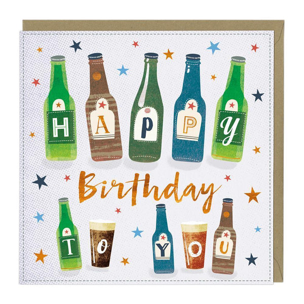 Beer Bottles Birthday Card