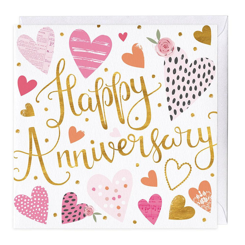 Hearts Happy Anniversary Card
