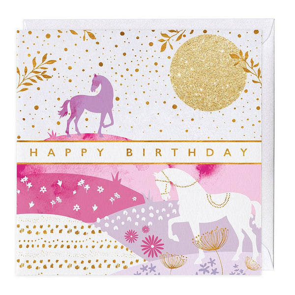 Tail of Two Horses Birthday Card