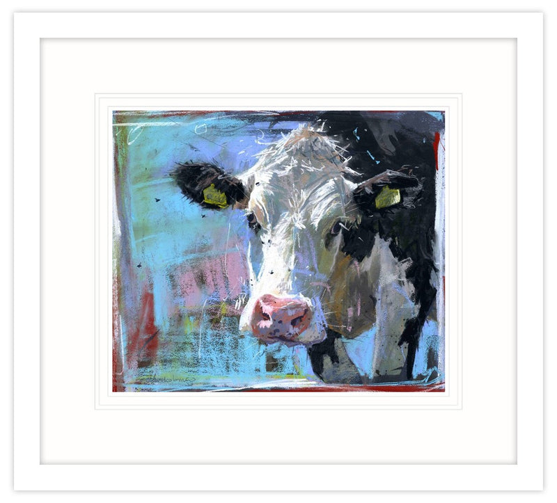 Hereford with Flies Framed