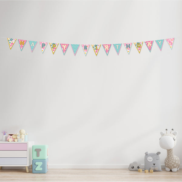 Floral Patterns Happy Birthday Bunting