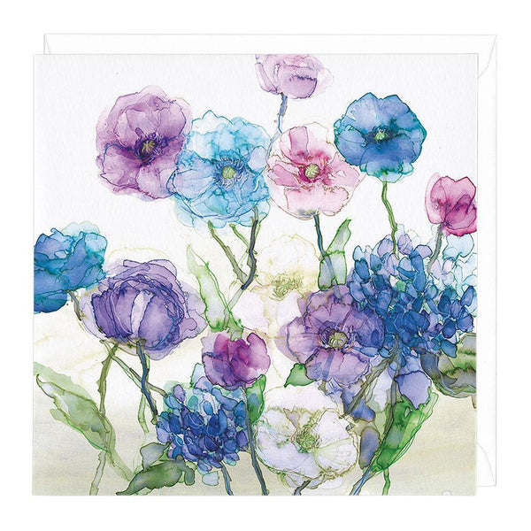 Poppies and Hydrangeas Card