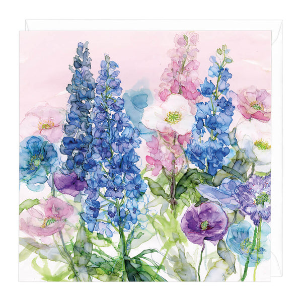 Bright Blue Delphiniums Card