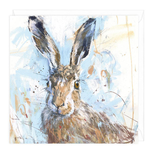 Spring Hare Art Greeting Card