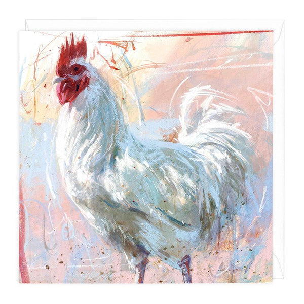 Cockerel On Pink Greeting Card
