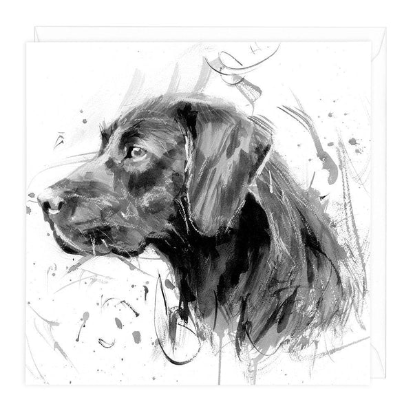 Black Labrador Art Card