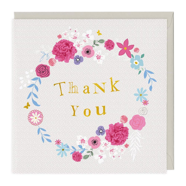 Thank You Floral Wreath Greeting Card