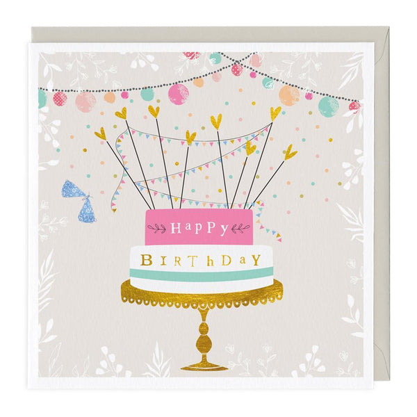 Golden Happy Birthday Card