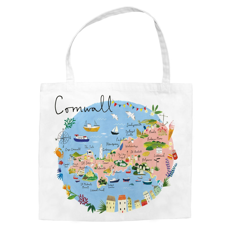 Cornwall Map Tote Bag