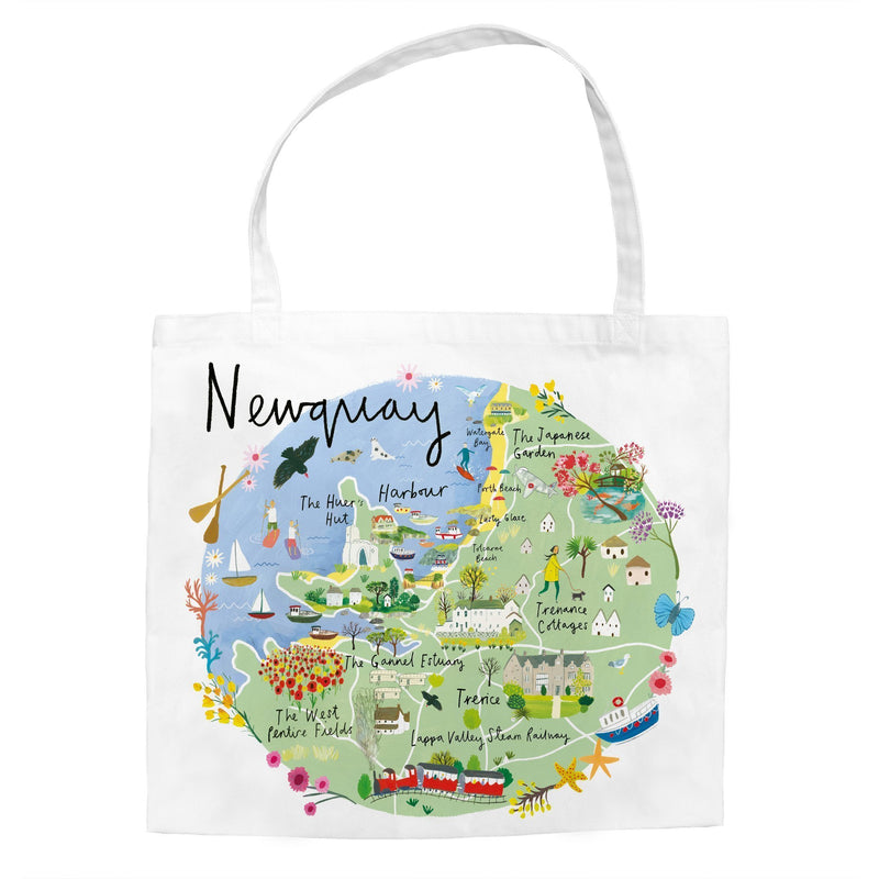 Newquay Map Tote Bag