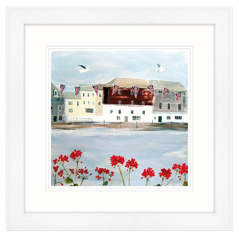 Padstow Harbour Bunting Framed