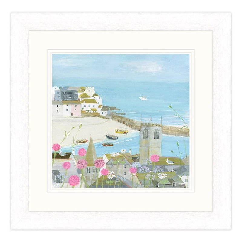 Flowers Above The Harbour Small Framed Print