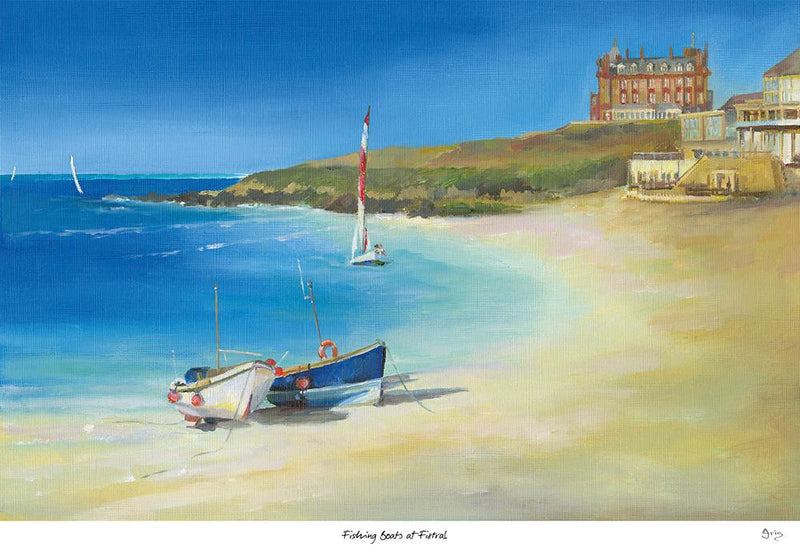 Fishing Boats At Fistral Art Print