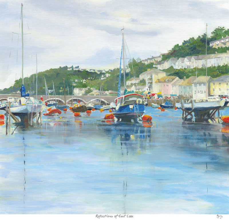Reflections Of East, Looe Art Print