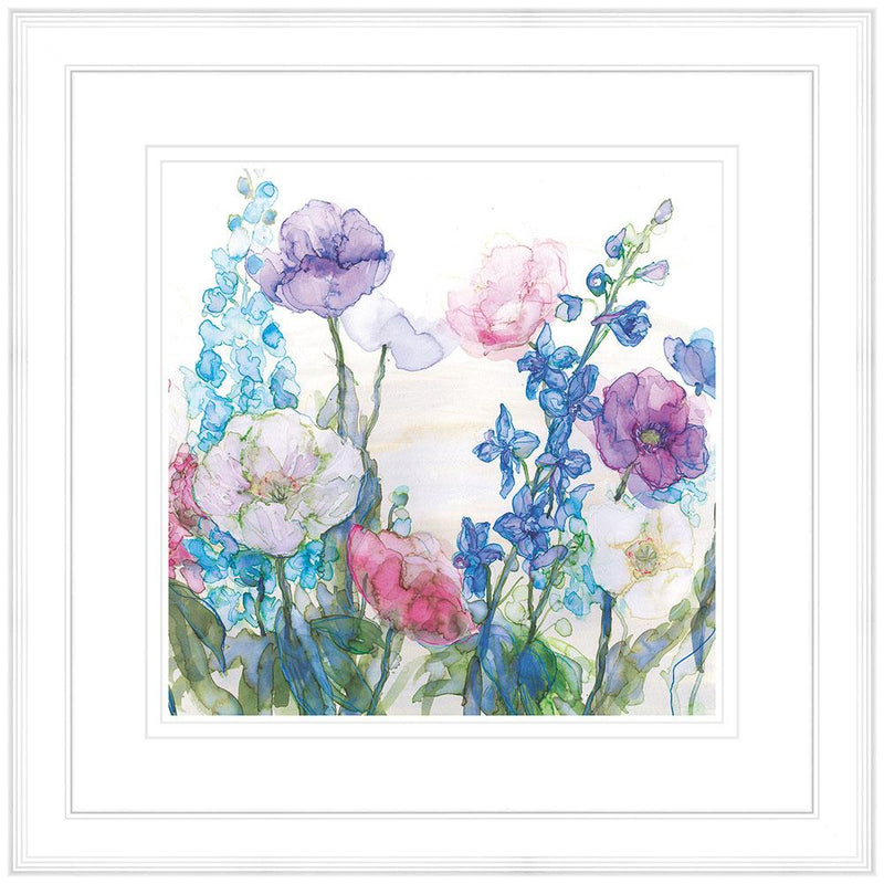 Pale Poppies & Delphiniums Framed