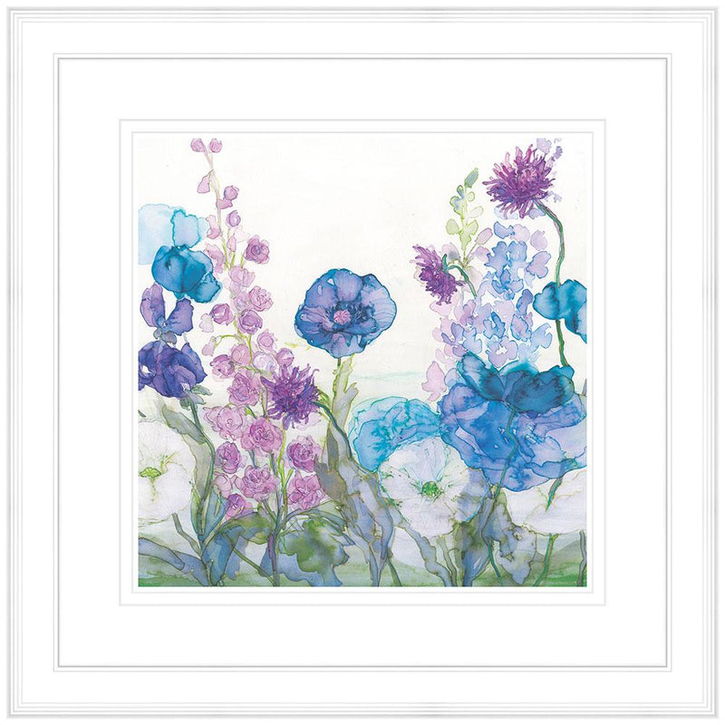 Poppies, Delphiniums & Sweetpeas Framed
