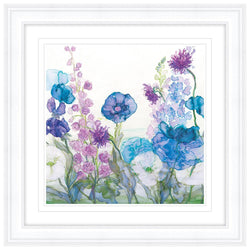 Poppies, Delphiniums, Scabious and Sweet Pea Framed