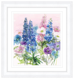 Blue Delphiniums & Poppies Framed