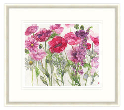 Poppies, Verbascum and Daises Floral Framed Print