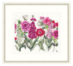 Stocks, Rose and Poppies Floral Framed Print