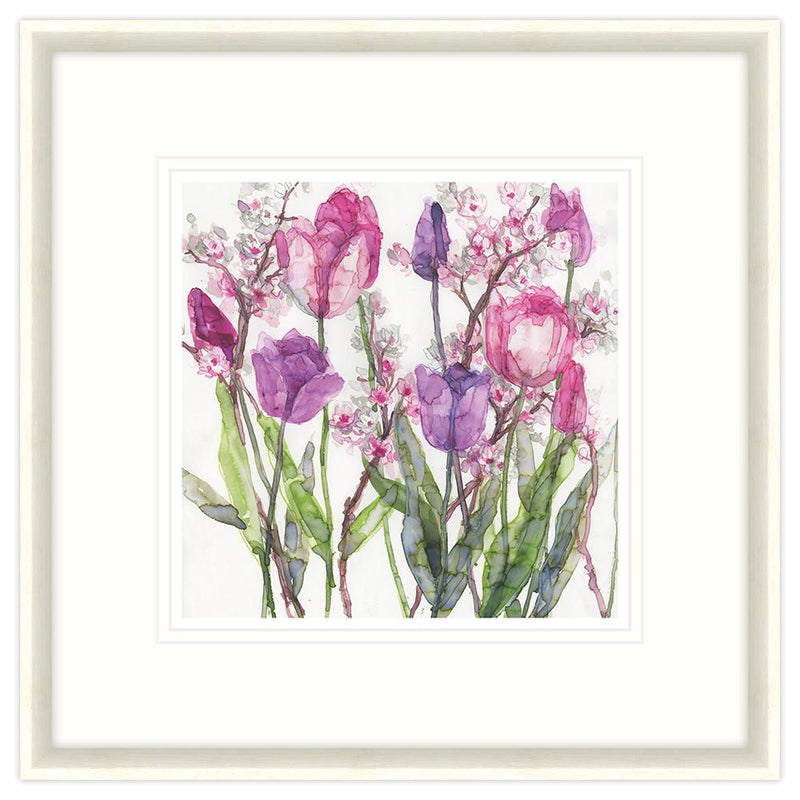 Pink and Lilac Tulips Framed Print