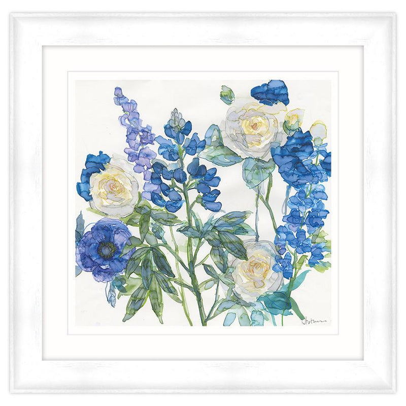Blue Lupin and Roses Framed Print