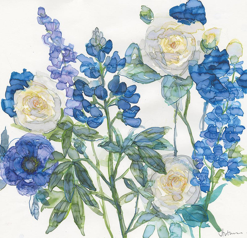 Blue Lupin and Roses Art Print