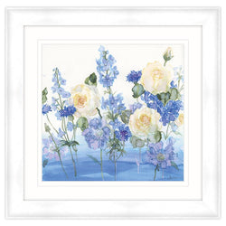 Yellow Roses & Blue Poppies Framed Print