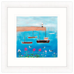 Boats And Gulls Framed Print
