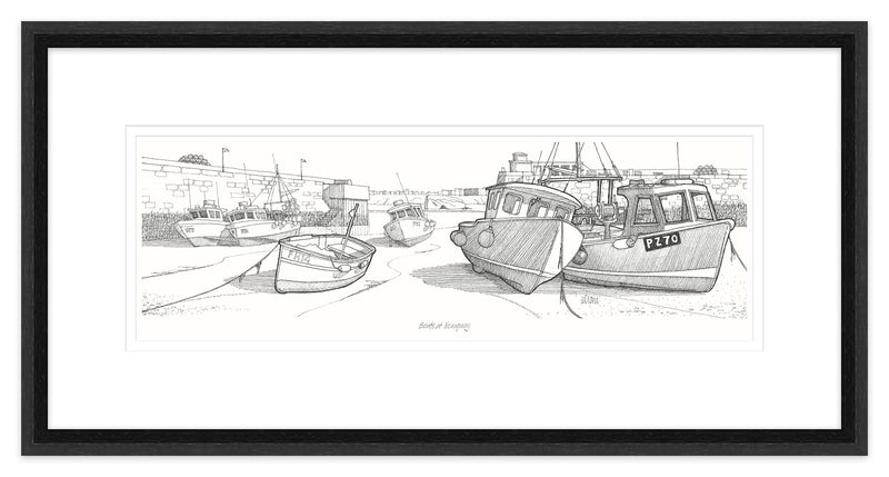 Boats at Newquay Framed